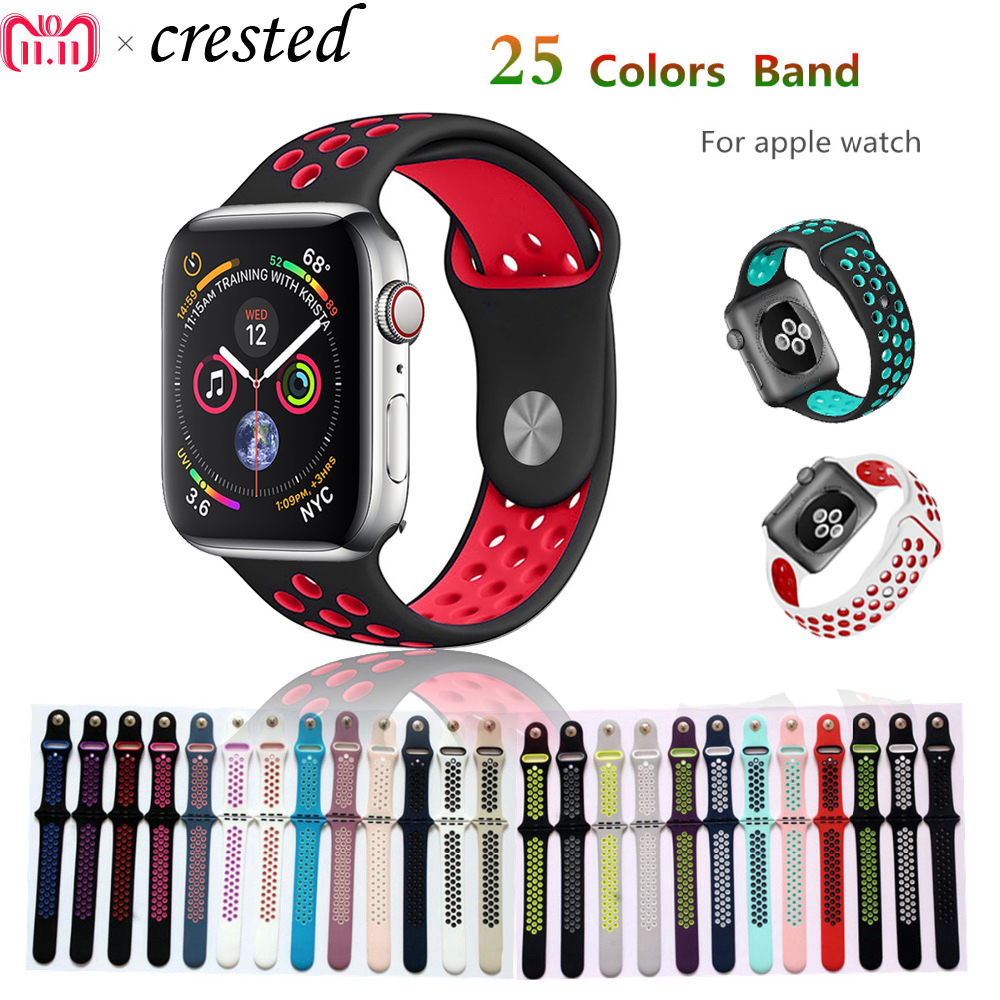 Silicone strap for apple watch band 42mm 38mm 44mm/40mm bracelet sport wrist watch belt Rubber watchband for iwatch 4/3/2/1 цена