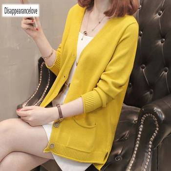 2019 Lady wool Sweater Fashion medium long Cashmere Cardigan Women loose sweater for female outerwear coat with pockets