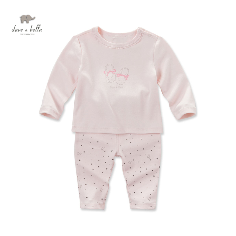 цена на DB4021 dave bella autumn baby girls printed clothing sets set infant clothes  kids pajamas set  girls sleepwear homewear set