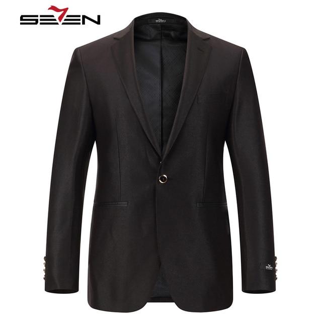 Seven7 Brand Men Dress Suits Black 3 Pieces(Suit Jacket,Vest,Pant) 1 Button Front Solid Classic High Quality Suits Sets 703C1422