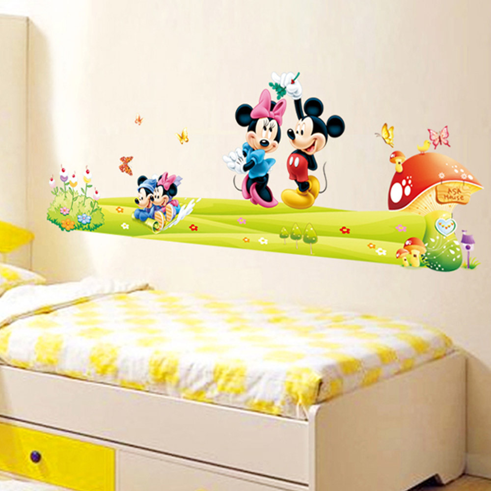 Mickey Mouse Wallpaper For Bedroom Kids Bedroom Wall Decor Blue Yellow Pink Cartoon Animal Kids