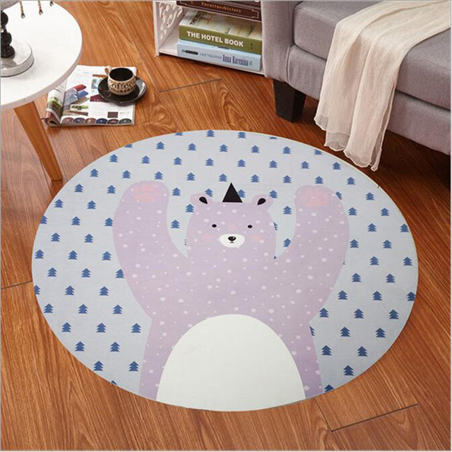 Kids Bedroom Carpet Cartoon Bear/Fox Round Rug 60 120cm Kid Room Play Carpet