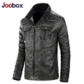 JOOBOX Retro leather jacket, Mandarin Collar mens leather jackets and coats, motorcycle leather jacket, biker jacket (AL001)