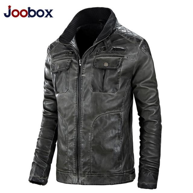 JOOBOX Retro leather jacket, Mandarin Collar mens leather jackets and coats, motorcycle leather jacket, biker jacket (AL001)