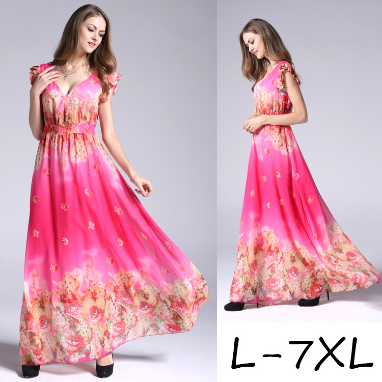 2019 European style V collar plus size printed chiffon dress women's summer large size long dress 6XL 7XL floral printing dress