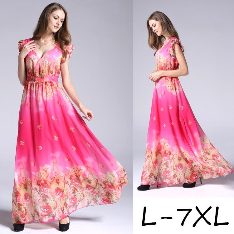 2019 de style Européen col V grande taille imprimé robe en mousseline de femmes d'été grande taille conduites de carburant 6XL 7XL robe à fleurs imprimées