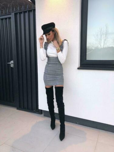 2019 New Hot Summer Fashion Latest Womens Bodycon Check Dog Tooth Frill Pinafore Ruffle High Waist Dress Bodycon Mini 8-14