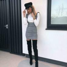 2019 New Hot Summer Fashion Latest Womens Bodycon Check Dog Tooth Frill Pinafore Ruffle High Waist