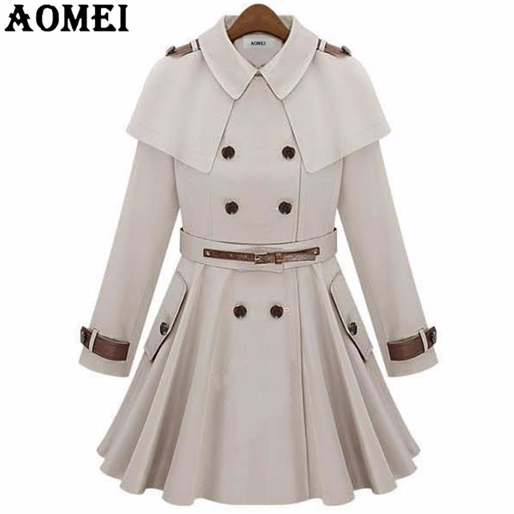 Women Fall Fashion Long Wind Coat with Belt Navy Blue Outwear Office Lady Long Sleeves Tops Pleated Office Lady Winter   Trench