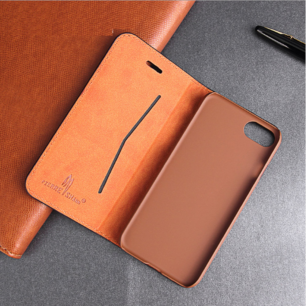 Luxury Cowhide Full cover case For iphone X 6 6s 7 8 First layer cowhide Copper money card holder For iphone 6 7 8 plus bag case (8)