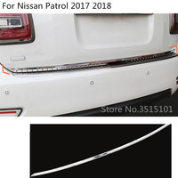 car cover Stainless steel Rear tail door bottom tailgate Trunk Lid Tail Gate trim 1pcs For Nissan Patrol 2017 2018 2019