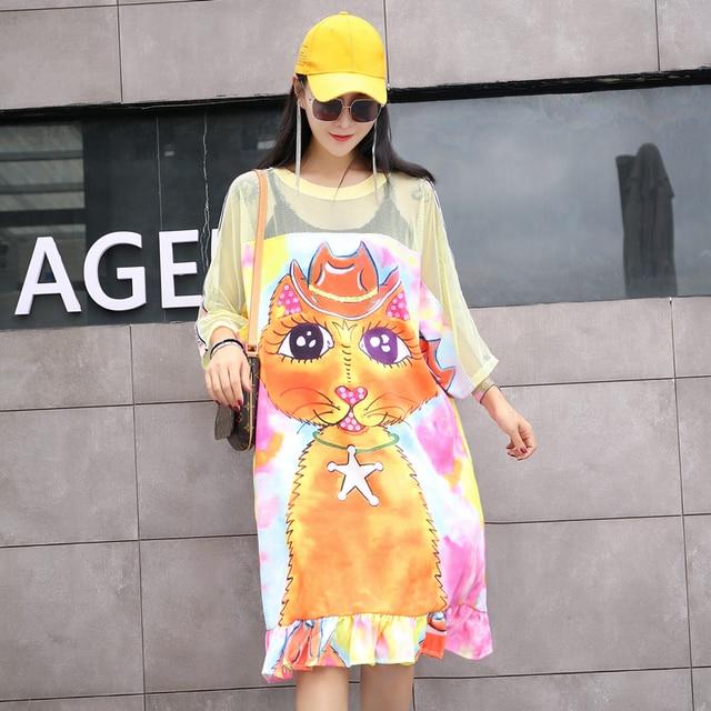 الأوروبية محطة التايلاندية الشارع الأزياء الكرتون شيك طباعة شبكة خياطة منظور تي شيرت فقرة طويلة كسول الرياح اللباس