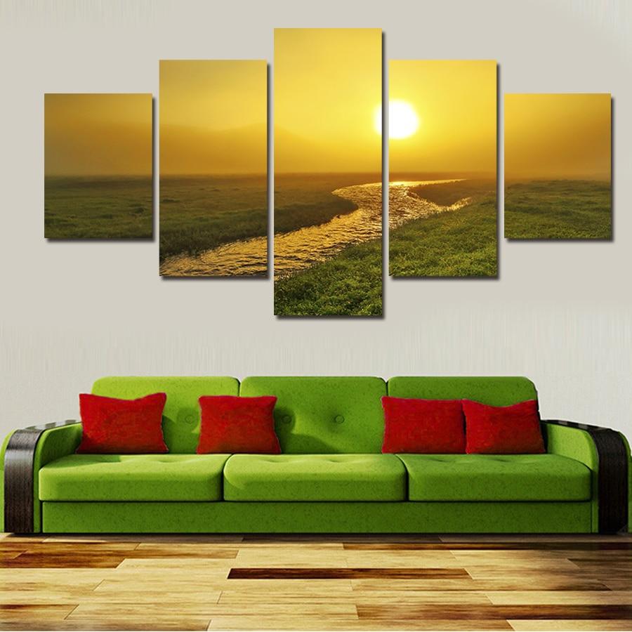 pintura de pared sol sunset home arte decorativo cuadro en lienzo prints unidades abstracta moderna