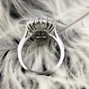 2ct Center 7.5mm EF color Cushion Cut Moissanite accents Moissanite double halo ring 4