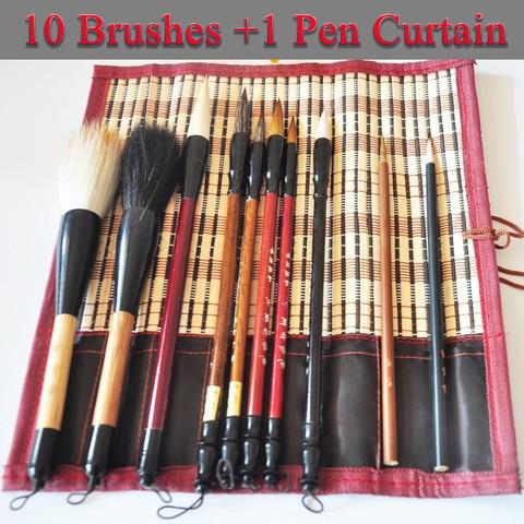 11 unidades pacote pintura chinesa escova de mistura de la cabelo fuinha caligrafia uma caneta
