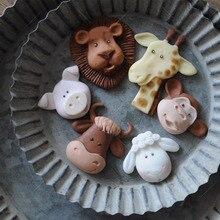 Мультфильм обезьяна Лев Жираф овец свинья корова мыло силиконовая форма в виде животного силиконовая форма для украшения торта инструмент помадка шоколадная смола