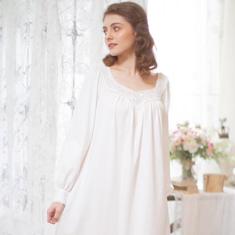 Vintage Nightgown Sleepwear Women Long Nightgown Sleepwear Ladies Comfortable