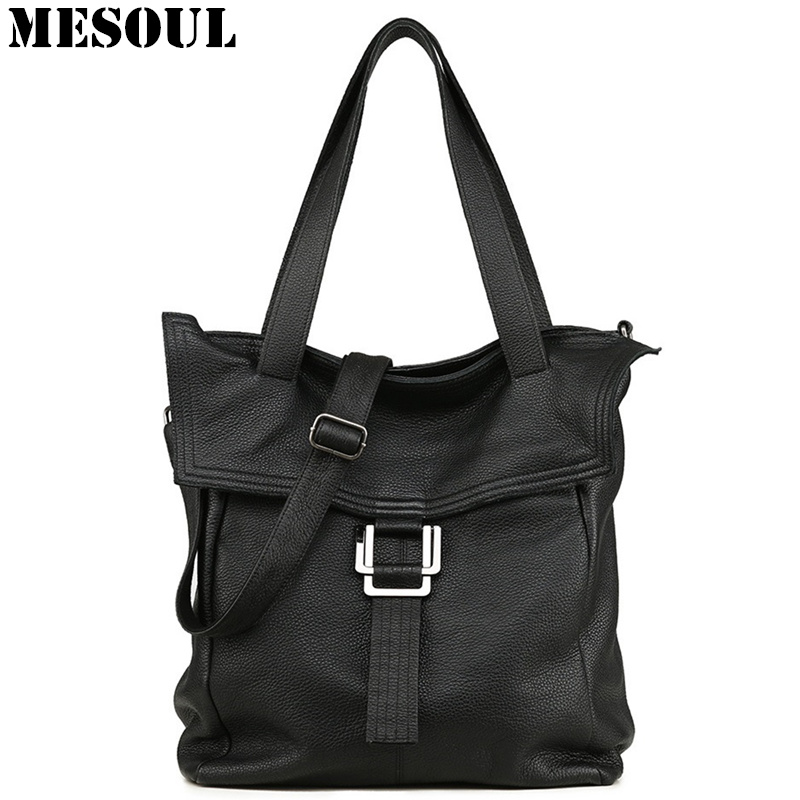 MESOUL 100% Genuine Leather Handbag Large Capacity Black Women Shoulder Bag Casual Tote High Quality Crossbody Bags For Ladies hahmes 100% genuine leather women bags fashion casual tote handbag wholesale high capacity shoulder bag 31cm 10602