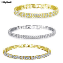 Liuyuwei Fashion Cubic Zirconia Tennis Bracelet & Bangle Gold Silver Color Charm Bracelet For Women Bridal Wedding Party Jewelry