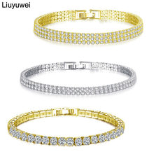 Liuyuwei Fashion Cubic Zirconia Tennis Bracelet & Bangle Gold Silver Color Charm Bracelet For Women Bridal Wedding Party Jewelry(China)