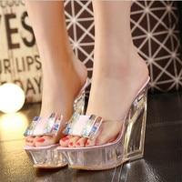 Summer High Heels Slippers Transparent Diamonds Crystal Shoes Woman Wedges Heel High Heels Sandals Women Nightclub