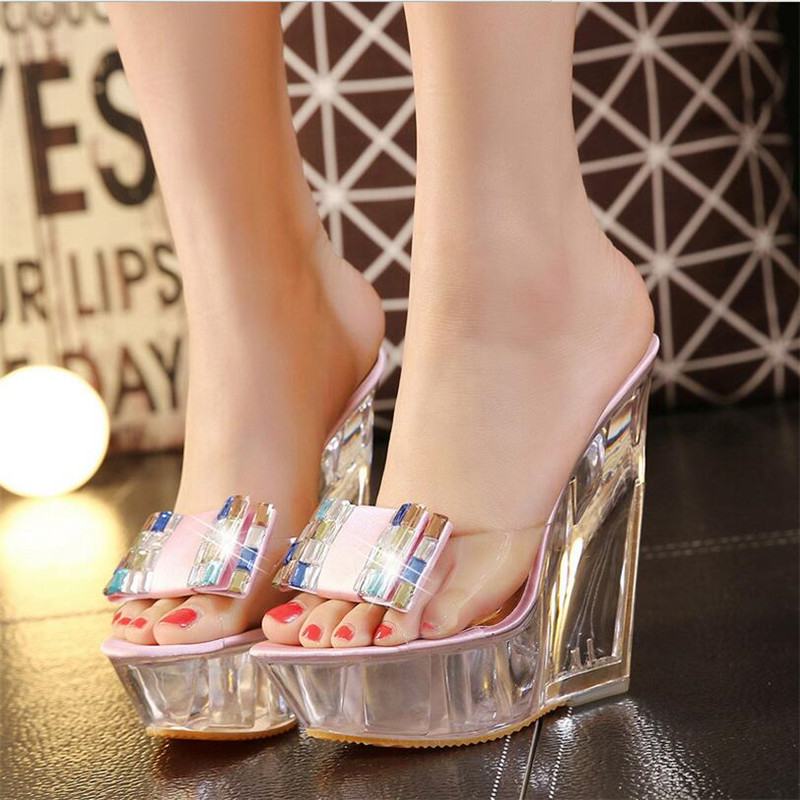 summer high heels slippers transparent diamonds crystal shoes woman wedges heel high heels sandals women nightclub shoes цена