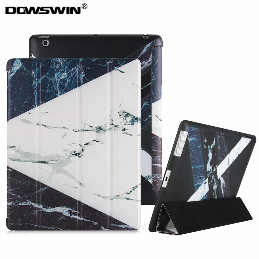 for ipad 2 3 4 case,DOWSWIN marble pattern pu smart cover can wake up and sleep tpu soft back cover for ipad 2 3 4