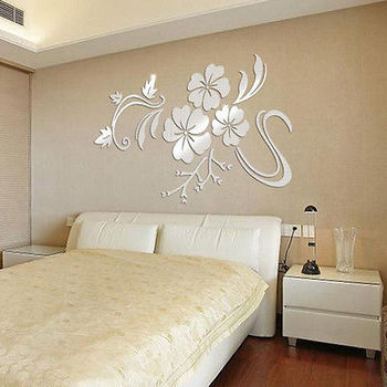 3D Gold Silver Flowers Vine Pattern Mirror Acrylic Wall Sticker For Living Room-Free Shipping 3D Wall Stickers Flower Wall stickers Living Room mirror wall stickers