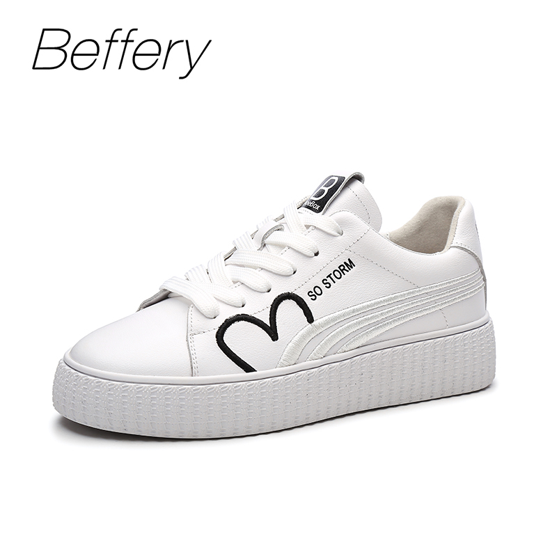 Beffery 2018 New Women Shoes Genuine Leather Lace-up Sneakers Fashion Embroidery Casual Shoes Women sneakers flat platform shoes beffery 2018 british style patent leather flat shoes fashion thick bottom platform shoes for women lace up casual shoes a18a309