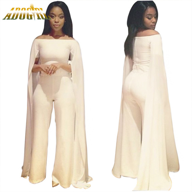 a0c59e46880a New Plus Size White Elegant Jumpsuit For Women Lady Long Bodycon Rompers  Sexy Slash Neck Off