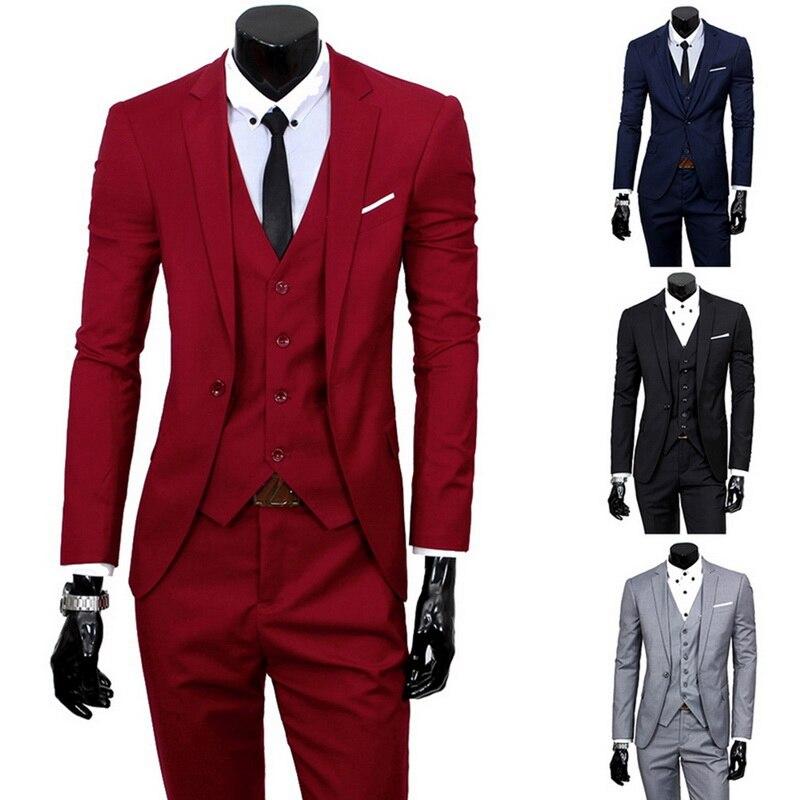 Laamei Men's Business Groomsman Suit Pants Vest Sets Suit + Vest + Pants 3 Pieces Sets Slim Suits Wedding Party Blazers Jacket