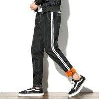 Япония Стиль Ретро Джинсы для женщин Для мужчин модные боковой полосой Патч теплый Джинсы для женщин зима толстые плюс бархат Повседневное ...