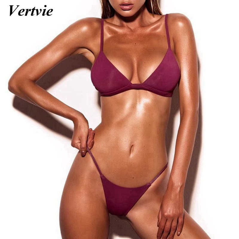 Vertvie 2018 Women Sexy Brazilian Thong Bikini Set Micro Swimwear Low Waist Swimsuit Beach Biquini Bathing Suit Maillot De Bain sexy bikini swimwear women 2018 new swimsuit micro bikini set brazilian bathing suit push up beach wear biquini maillot de bain