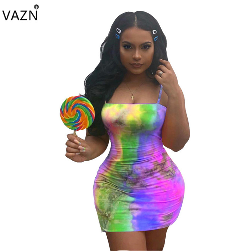 VAZN 2019 <font><b>Sexy</b></font> Club Little <font><b>Chap</b></font> Style Women Dress Spaghetti Strap Sleeveless Thin Multi Color Lady Mini Dress YWJR0644 image