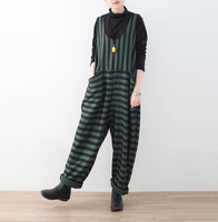 2018 Spring Knitted Rompers Womens Jumpsuits Casual Vintage Sleeveless Backless Casual Loose Striped Overalls Paysuits Plus Size