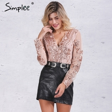 Simplee Apparel Golden sequin mesh bodysuit for women Transparent sleeve leotard bodysuit top V neck elegant jumpsuit romper