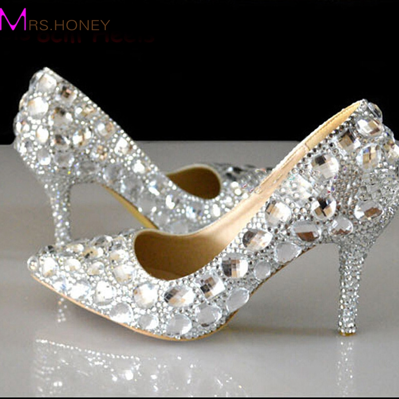 ФОТО Silver Rhinestone Wedding Shoes Pointed Toe Crystal Heels Wedding Party Shoes 3 Inches High Heel Prom Pumps Bridesmaid Shoes