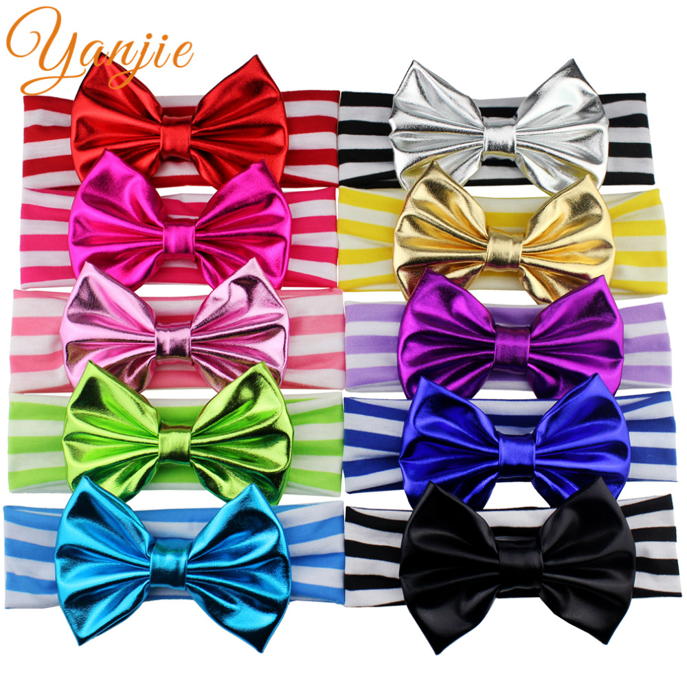Ha hair bow ribbon wholesale - 10pcs Lot 5 Metallic Glitter Messy Bow Striped Headband Gold Silver Metallic Bow For Girls And Kids Headband Glitter Hair Bows
