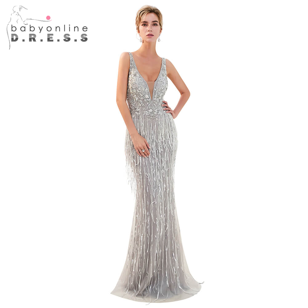 Robe De Soiree Beaded Crystals Long   Prom     Dresses   2019 Sexy Double V-Neck Mermaid   Prom   Gowns Custom Make Size Tassel Party   Dress