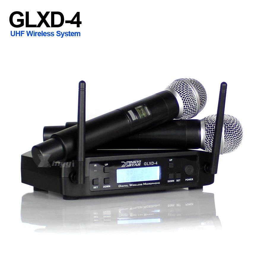 Micro professionnel sans fil UHF karaoké micro portable BETA 58A SM 58 2 canaux récepteur LCD GLXD4 pour fête de mariage KTV DJ