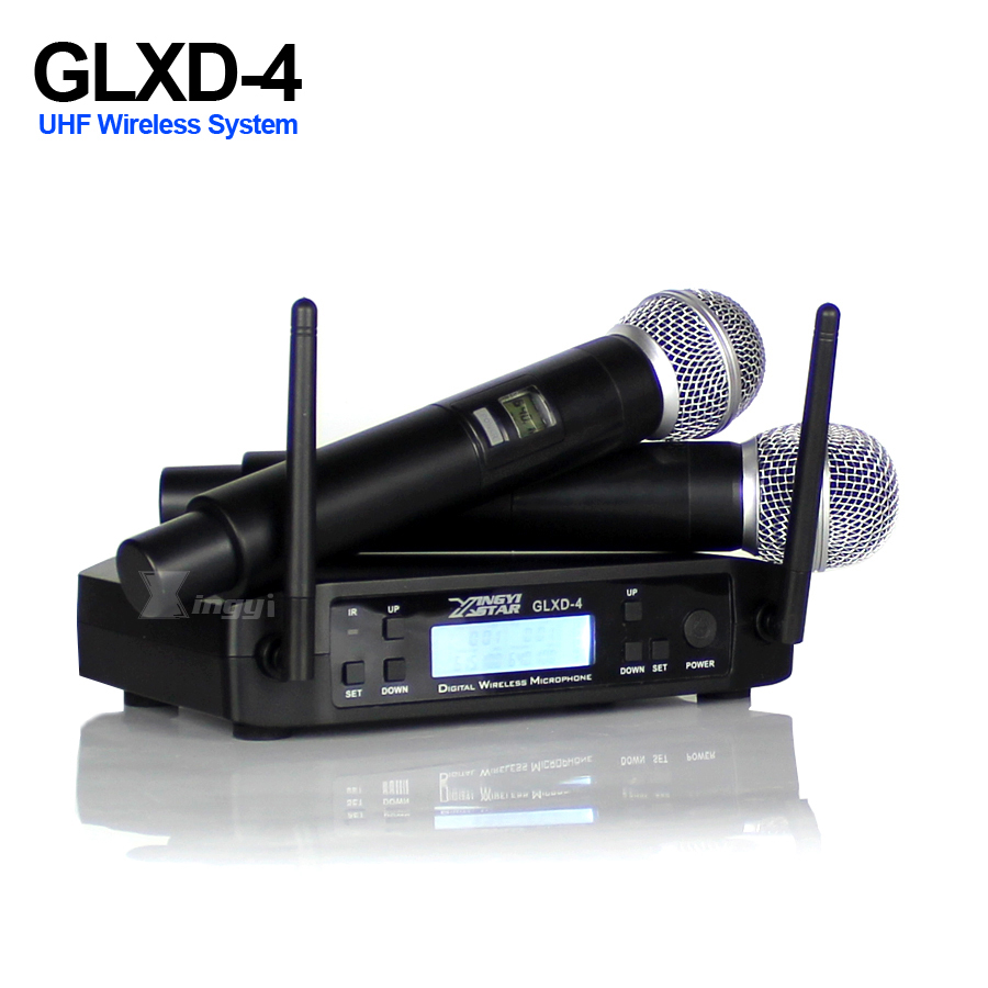 Professional UHF Wireless Microphone Karaoke Handheld Mic SM 58 Micro Dual Channels LCD Receiver GLXD4 For KTV DJ Wedding Party