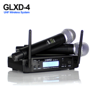 Professional UHF Wireless Microphone Karaoke Handheld Mic SM 58 Micro Dual Channels LCD Receiver GLXD4 For KTV DJ Wedding Party