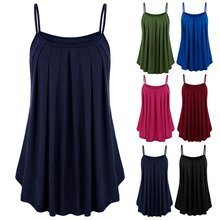 Women Strappy Vest Solid Flared Swing Sleeveless Top for Summer -OPK