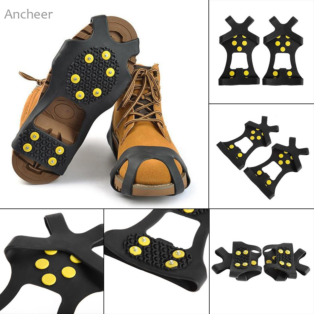 Anti Slip 10-Stud Crampons Stretch Footwear Snowstep Ice Cleats Snow Grips Over Shoe/Boot For Camping Hiking