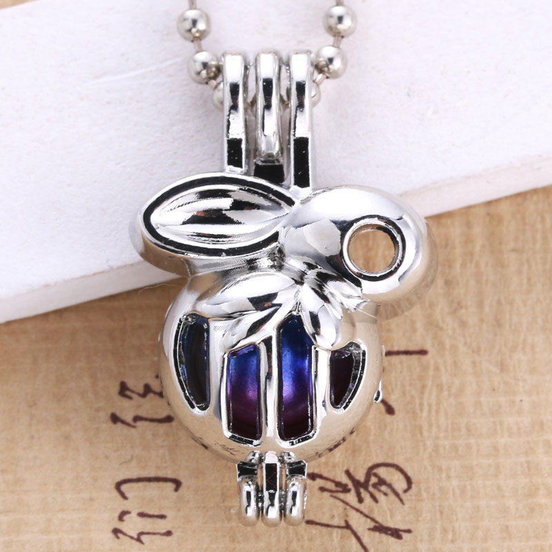 Necklaces & Pendants 5pcs Silver Plated Lucky Merlion Pearl Cage Pendant Aromatic Diffuser Pendant Jewelry Gift Oyster Pearl Fun Gift