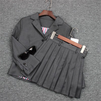 High Quality Runway Skirt Suits Women Classic Grey Casual Blazer and Pleated Skirt Set
