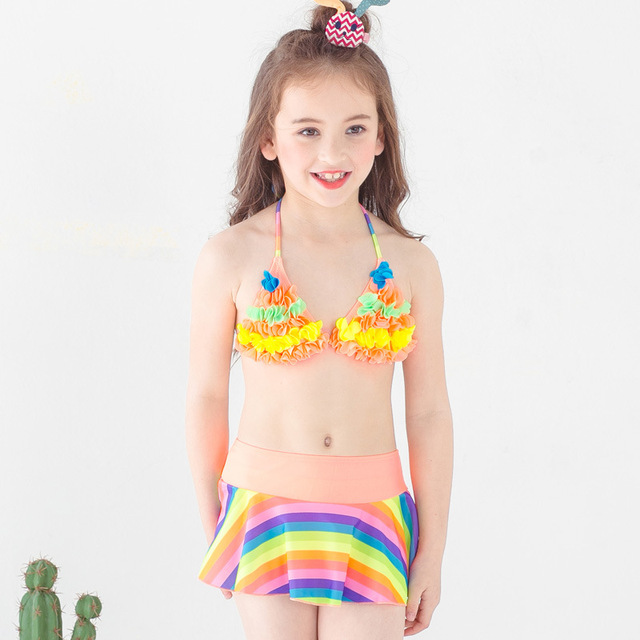 395801568f5 Girl 3 Pcs Set Bikini Girl Split Swimsuit Kids Rainbow Strip Swimwear with Skirt  Children Girls Beach Clothing Kid Bathing Suits