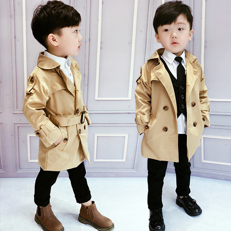 children's clothing hot style children double-breasted boys belt windbreaker long coat Fashion boy coats kids jackets ALI 315