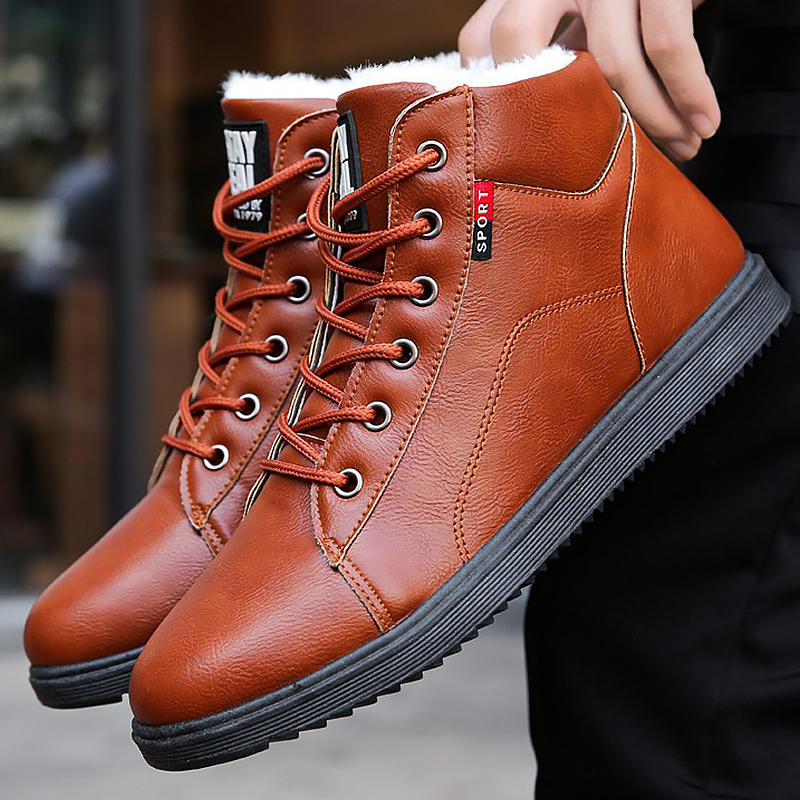 Ankle Boots For Men Waterproof Short Plush Winter Boots Fashion Male Snow Boots Boys Wear-resistant Hot Warm Shoes