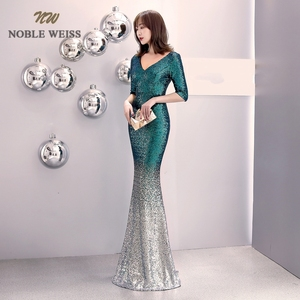 Image 5 - prom dresses 2019 v neck mermaid prom dress sexy vestidos de gala zipper back floor length prom gown with short sleeves